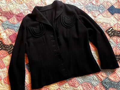 Vintage 1930s Black Knit Jacket Sweater Deco Pockets Cotton Crochet Mesh Antique