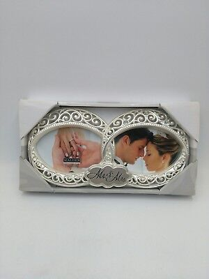 Malden Wedding Mr. and Mrs. Double Wedding Rings Photo Frame With Jewels-Silver
