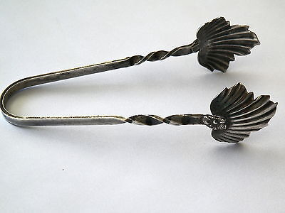 """Sterling Silver Leaf Design Tongs Hallmarked """"R"""" *No Reserve"""