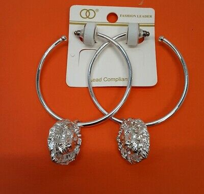 Silver-tone metal Large Rings Earrings with Lion Head  W1-1/22