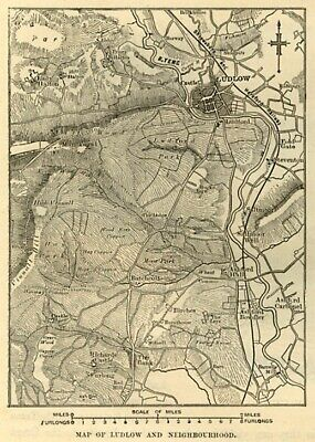 Ludlow and neighbourhood map, antique engraving, 1880s