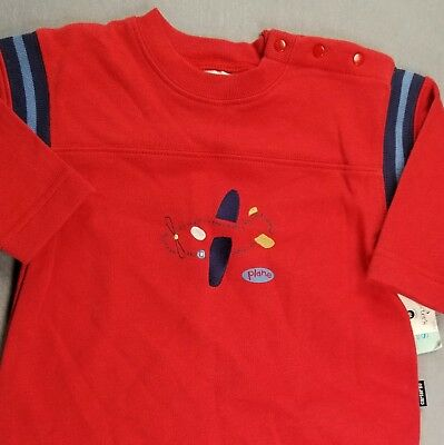New!! Carter's 3-6 Month Baby Boy Red Airplane Sweatshirt Like Outfit