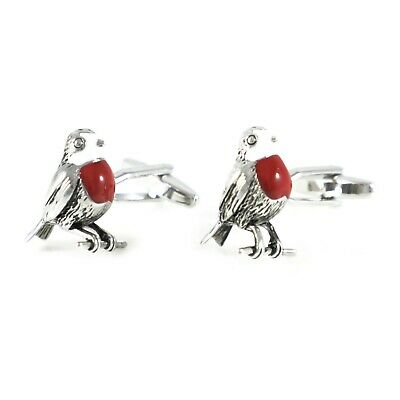 New Novelty Antique Silver Tone Red Color Breast Robin Bird Cuff Links