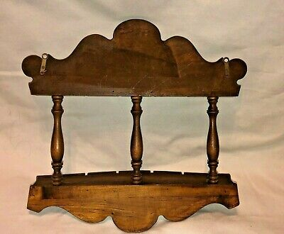 Vintage 2-Tier Wooden Souvenir Spoon Rack Grooved Display with Shelf, Holds 12