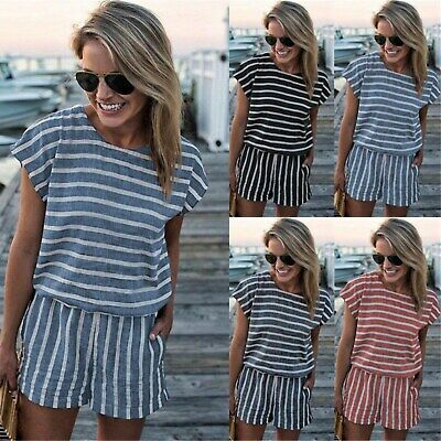 UK Boho Womens Striped Pocketed Playsuit Ladies Summer Holiday Shorts Jumpsuit
