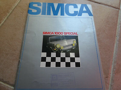 Rare Ancien - Authentique Depliant Pub - Auto - Simca 1000 Special - 1968
