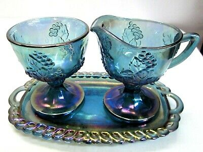 Indiana Blue Carnival Glass Grape Pattern Creamer, Sugar and Tray