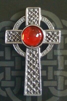Celtic Interlaced Cross Red Gem Badge Pin Pewter Pagan Wiccan Gift Charm Lapel