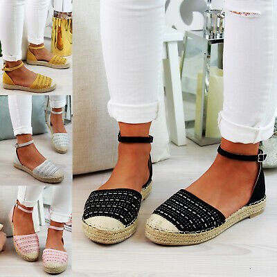 New Womens Flat Closed Toe Sandals Comfy Espadrilles Ankle Strap Holiday Shoes