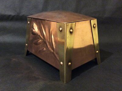 Antique Arts and crafts C.1900 Copper and Brass  tea caddy / storage casket
