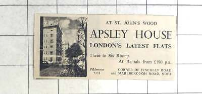 1936 Apsley House St John's Wood Flats To Rent £190 P.a.