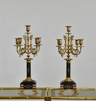 PAIR OF LATE 19TH CENTURY MARBLE AND METAL five branch CANDELABRAS Candlesticks