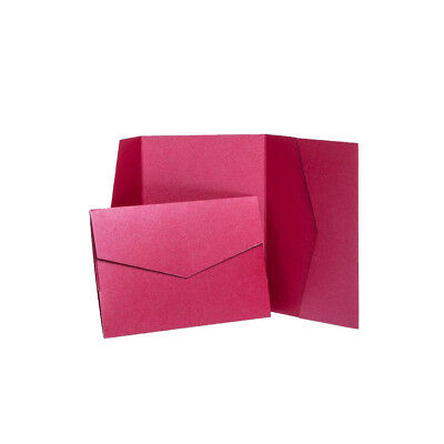 Cherry Red Pearlescent Wedding Card Invite with envelopes. Pocket Weddings