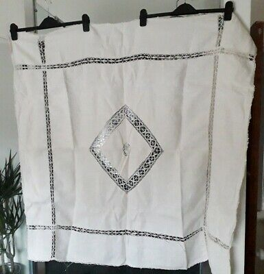 Antique vintage edwardian white hand crochet & cotton tablecloth 42 x 42 inches