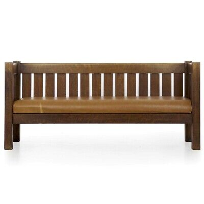 ARTS CRAFTS SOFA | Antique Settee in Leather & Oak, Stickley Style circa 1910