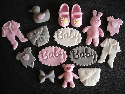 15 mixed pink, baby girl christening edible cupcake toppers,Baby shower