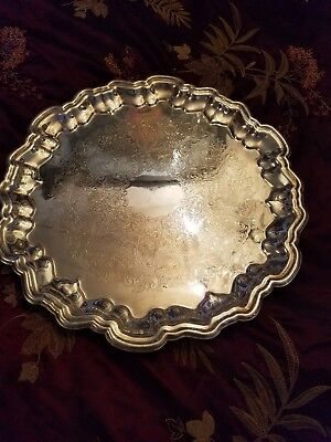 "Vintage Leonard Silverplate Footed 15-1/2"" Etched Round Serving Tray"