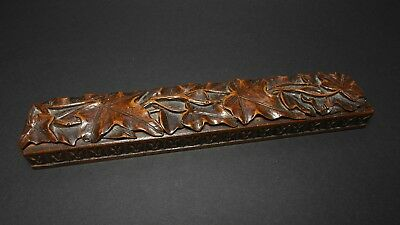 vintage wood box Füllhalter Holzbox Bleistift Pencil antique carved griffelbox