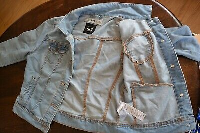 Newlook 915 girls Blue Faded Denim Jacket 164-170 Age 14-15 very good condition