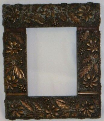 Antique Relief Frame Copper / Bronze Tone Floral Relief Very Unusual