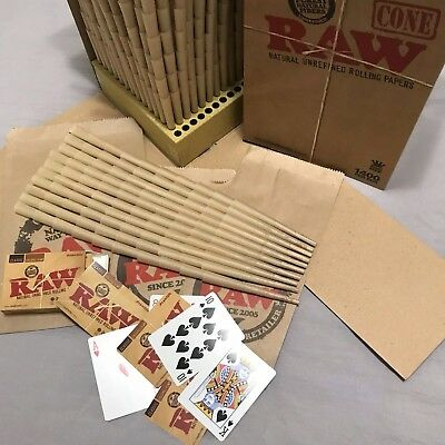Raw Classic King Size Cones ~ 100 Pack ~ 1 Deck Of Raw Playing Cards