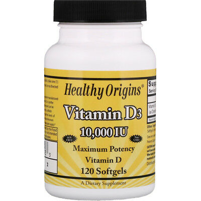 Healthy Origins, Vitamin D3, 10,000 IU, 120 Softgels Original UK Stock!