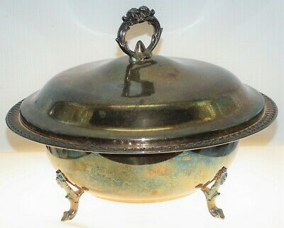 """Vintage Leonard Silverplate Covered Footed Serving Bowl Dish 10.25"""""""