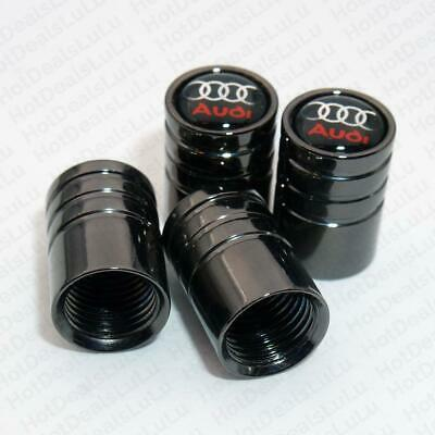 4 x Black Audi Valve tyre Dust Caps Covers Alloy wheel Deluxe Style A6 A4 S Line