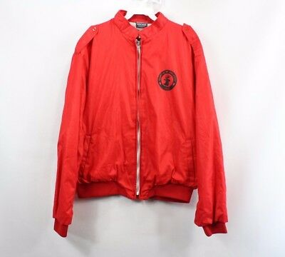 Vintage 80s Martin Archery Co Mens Large Full Zip Lined Bomber Jacket Red
