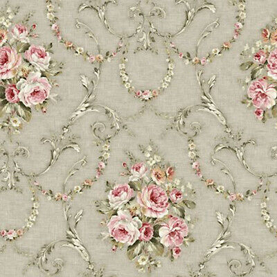 Dollhouse Miniature Shabby Chic Wallpaper Gray Pink Floral Flowers 1:12 Grey