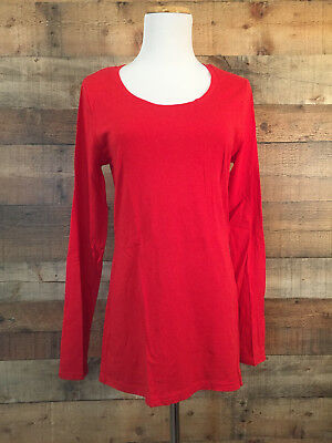 Women's No Boundaries Stretch Knit Top Jr Size L Red Long Sleeve Scoop Neck