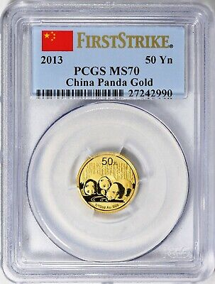 CHINA 2013  50 YUAN  GOLD PANDA - 1/10 oz  - PCGS MS70 & FS - EXQUISITE BEAUTY