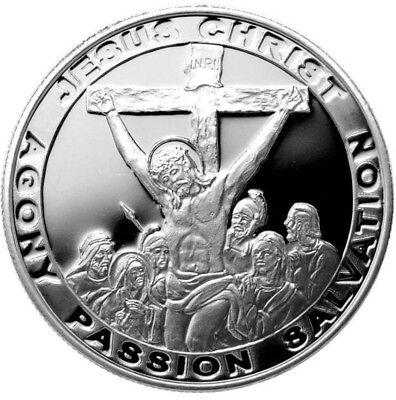 THE PASSION OF JESUS CRUCIFIXION.. SOLID SILVER ROUND 1 TROY oz