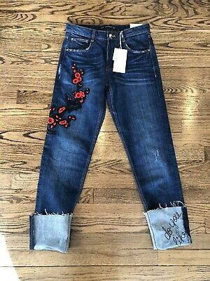 a391d395 ZARA Trafaluc TRF Denim Wear CIGARETTE Floral EMBROIDERED Distressed JEANS  2 NWT