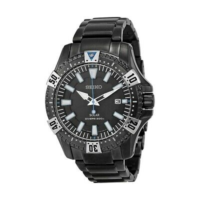 *BRAND NEW* Seiko Men's Solar Black Dial Black Ion-plated Men's Watch SNE281