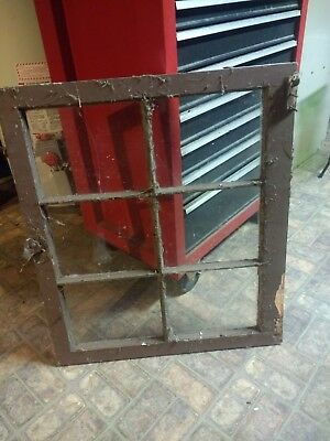 VINTAGE ANTIQUE FARMHOUSE WOOD SASH WINDOW 6 PANE CRAFTS with GLASS 27 x 24