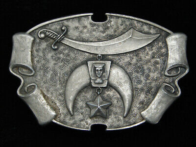 QE11131 VINTAGE 1970s **SHRINERS JEWEL OF THE ORDER** PEWTER BELT BUCKLE