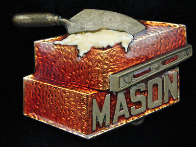 Pf01105 Vintage 1980 **Mason** Commemorative Solid Brass Baron Belt Buckle