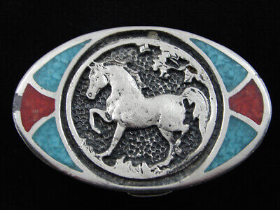 Re01130 Vintage 1980 **Horse** Southwestern Design Art Belt Buckle