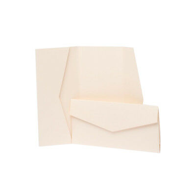 Peach Pearlescent Pocketfold Invites with envelopes. DIY Wedding Cards
