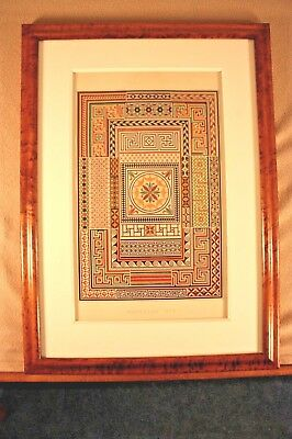 The Grammar Of Ornament, Beautiful  Antique Plate- Pompeian Design Framed