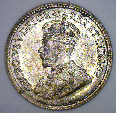 1920 George Silver 5 Cent Small Nickle Canadian Canada Coin MS UNC