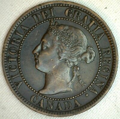 1899 Copper Canadian Large Cent Coin 1-Cent Canada K16