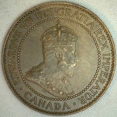 1909 Copper Canadian Large Cent Coin 1-Cent Canada AU K12