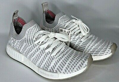 450478abde799 Adidas NMD R1 STLT PK Primeknit Casual Shoes White Grey Pink CQ2390 US Size  8