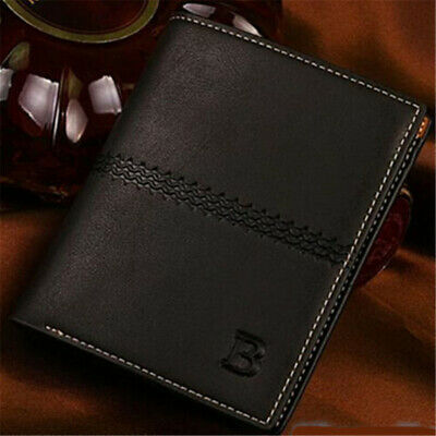 Men's Casual Leather Credit Card Coin Holder Clutch Bifold Purse Wallet Pockets