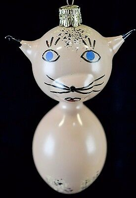 Vintage Glass Hand Painted Czechoslovakian Christmas Ornament Kitty Cat
