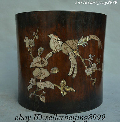Chinese Huali Wood Inlay Shell Bird Pattern Poems Wealth Pen Container Brush Pot