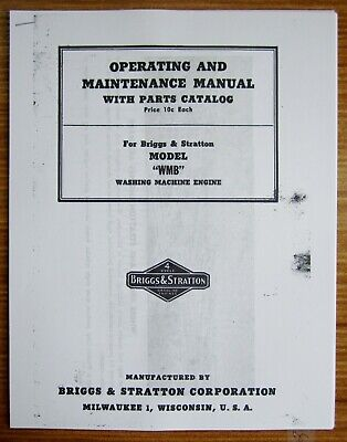 Briggs & Stratton Model WMB Operating And Maintenance Manual With Parts Catalog