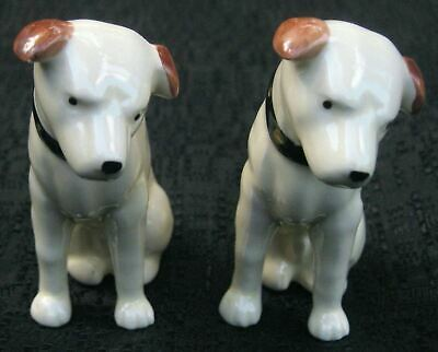 Nipper twins Victor Edison dogs phonograph salt and pepper ceramic nos old stock